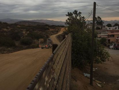 The fence at the border town of Tecate. On the left, Mexico.