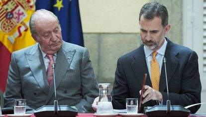Juan Carlos I and Felipe VI in Madrid.