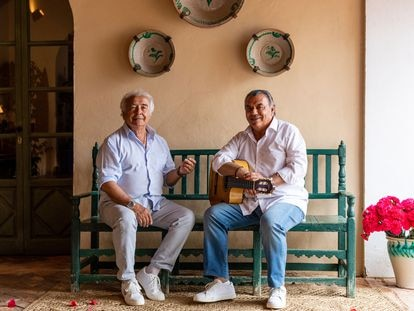 Los del Río pose in a villa in Utrera, in southern Spain, where they have assumed the role of Airbnb hosts.