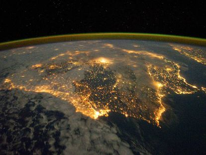 The Iberian peninsula at night