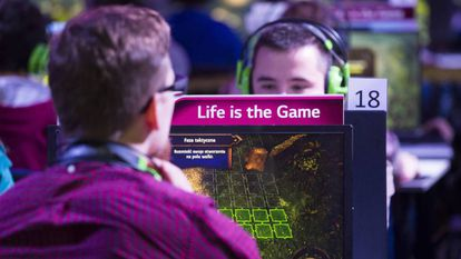 Young people in a video game fair in Warsaw, Poland.
