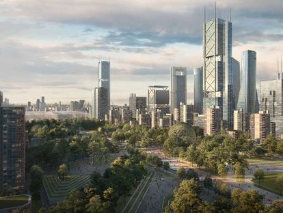 The mock up of the towers and green areas for the North Madrid project.