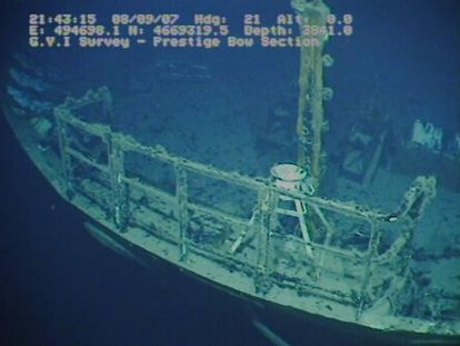 An image of the sunken Prestige taken in 2007 during the last expedition to the wreck.
