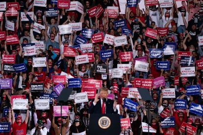 President Donald Trump speaks at a campaign rally on October 16 in Macon, Georgia.