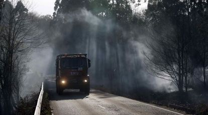 A fire truck in El Franco, Asturias, on Sunday.
