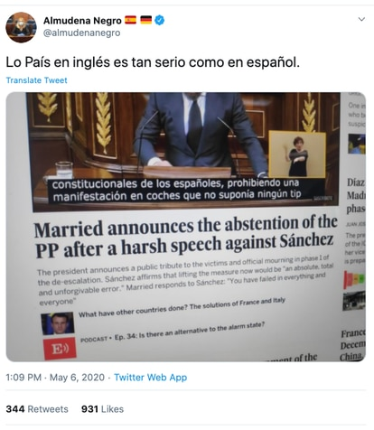 A screengrab of the now-deleted tweet from Almudena Negro criticizing EL PAÍS for the alleged error.