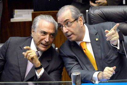 Michel Temer (left) speaking with then-speaker Eduardo Cunha.