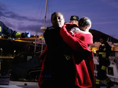 A migrant woman with her baby after landing in Fuerteventura in November.
