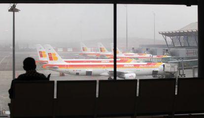 Iberia planes parked at Madrid's Terminal 4 at Barajas International Airport.