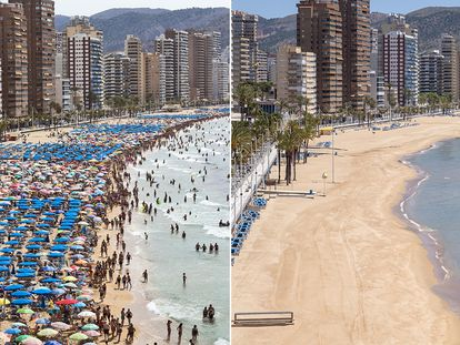 Benidorm's beaches in 2018, and in May 2020.