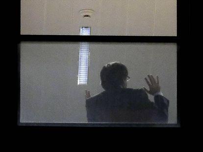 Puigdemont in the prosecutor's office in Belgium.