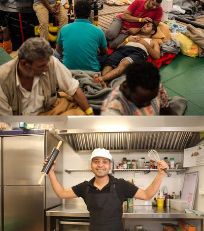 Ali Hazrat on the ship, and at the restaurant where he now works.