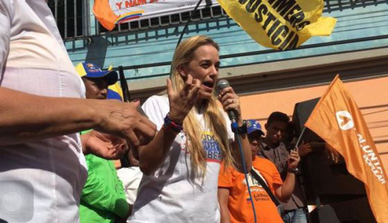 Lilian Tintori at an event in Guárico where opposition leader Luis Manuel Díaz was killed