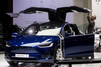 A Tesla Model X at the Paris Motor Show.