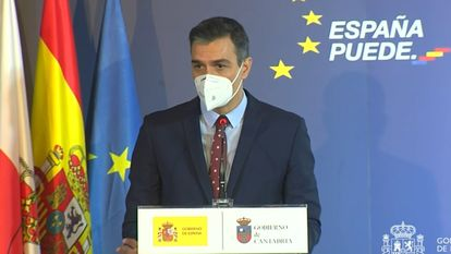 Spain's PM Pedro Sánchez presenting the national recovery plan on December 4.