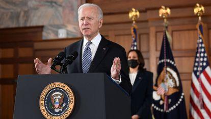 US President Joe Biden during a press conference.