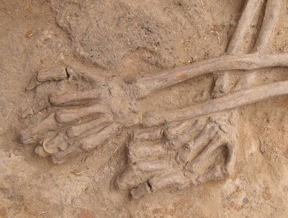A body in La Andaya (Burgos) wearing a ring on the left hand.