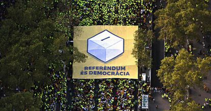 A pro-independence banner during Monday's La Diada march in Barcelona.
