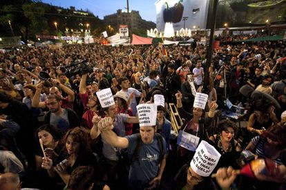 The 15-M protest in Barcelona.