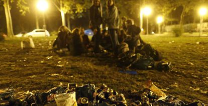 Late night, open-air 'botellón' drinking at Madrid University.