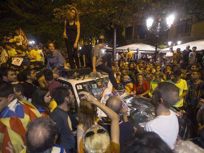 Demonstrators outside the regional economy department in Barcelona on Wednesday night.
