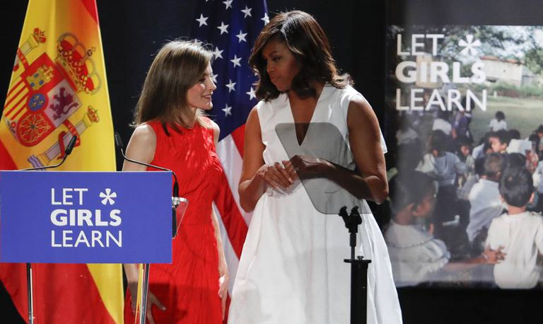 Michelle Obama and Queen Letizia in Madrid.