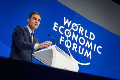 Pedro Sanchez delivers a speech during the World Economic Forum in Davos.