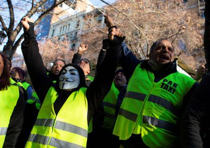 Taxi drivers protest in Barcelona.