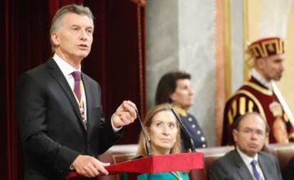 President Macri addresses the Spanish Congress on Wednesday.