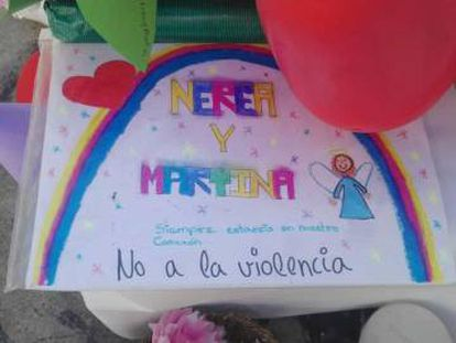 """A drawing done by Nerea's classmates in memory of the two girls. The message reads: """"No to violence."""""""