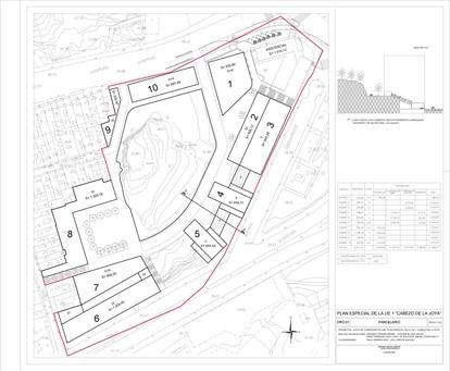 The urban plan for the cabezo de la Joya.