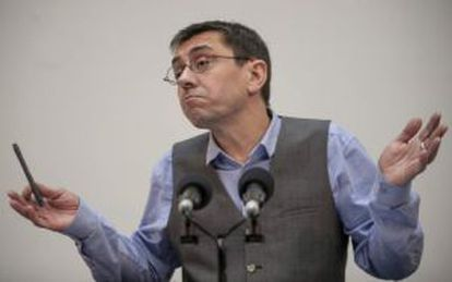 Juan Carlos Monedero was conspicuously absent from the event.