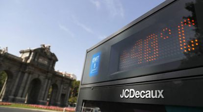 A street thermometer showing 40ºC in Madrid on Monday.