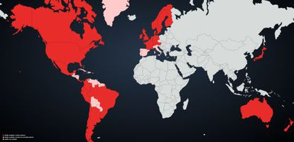 Countries where Netflix is present appear in red, with pink meaning recent additions.