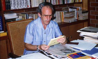Ignacio Ellacuría, who was killed in El Salvador, pictured in his office.