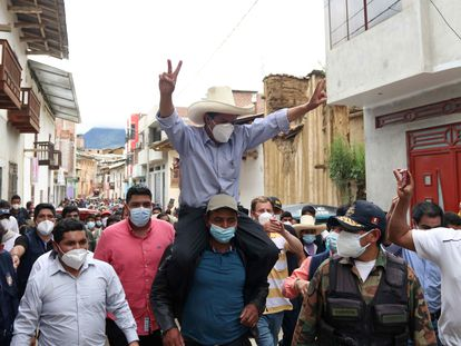 Peru's presidential candidate Pedro Castillo in Tacobamba on Sunday.