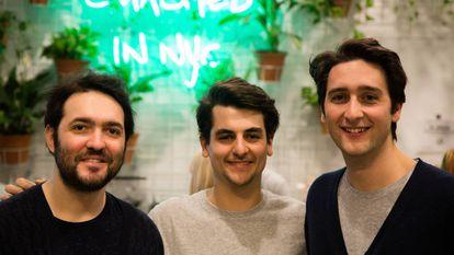 Alberto, Francesco and Alessandro in their bar.