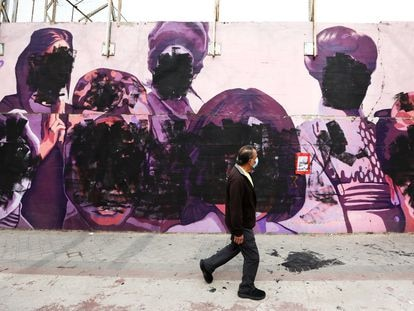 A feminist mural in the Madrid district of Ciudad Lineal vandalized on International Women's Day.