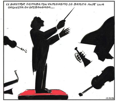 The conductor excitedly waved his baton in front of a disbanded orchestra...