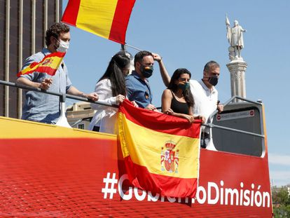 Leaders of the far-right Vox party, including president Santiago Abascal (c), during Saturday's protest in Madrid.