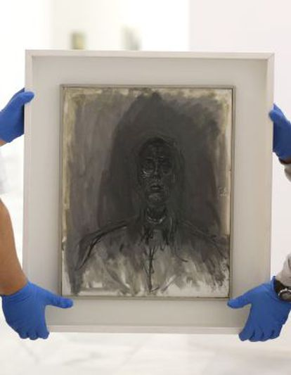 One of the Kunstmuseum works is put in place at the Reina Sofía.