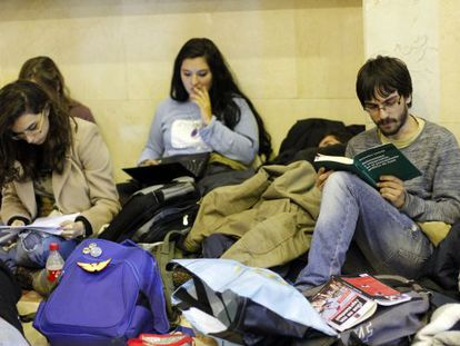 Students at the Complutense University in Madrid during the fifth day of a sit-in protest.