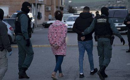 Two of the 79 people arrested last week in Pinos Puente (Granada).