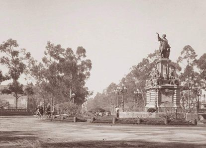 Monument to Christopher Columbus created by the artist Charles Cordier in 1877.