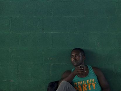 A Cuban man rests at a refugee center in Costa Rica.