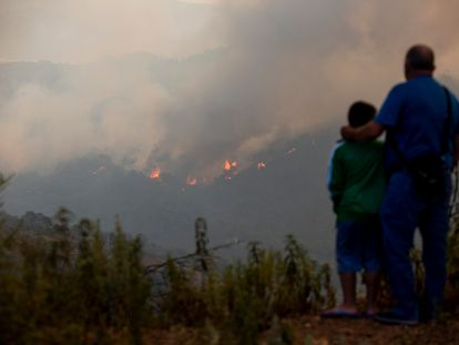 A man and his son observe the forest fire in Málaga.