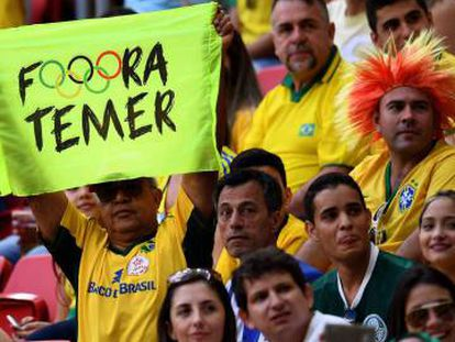 Opponents of interim president Michel Temer make their point.