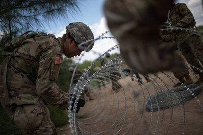 US troops reinforcing the border at Hidalgo, Texas.