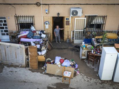 A woman outside her home in Orihuela.