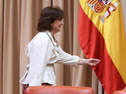 Deputy PM Carmen Calvo on Tuesday morning.